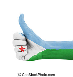 Hand with thumb up, Djibouti flag painted