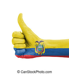 Hand with thumb up, Ecuador flag painted as symbol of...