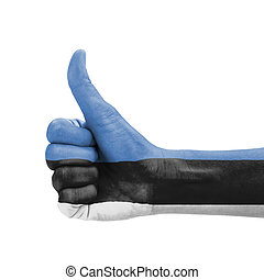 Hand with thumb up, Estonia flag painted as symbol of excellence, achievement, good - isolated on white background