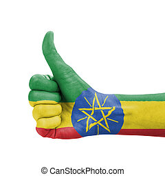 Hand with thumb up, Ethiopia flag painted