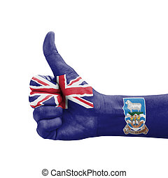 Hand with thumb up, Falkland Islands flag painted
