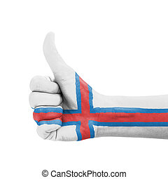 Hand with thumb up, Faroe Islands flag painted