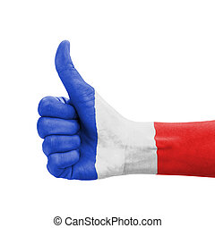Hand with thumb up, France flag painted as symbol of excellence