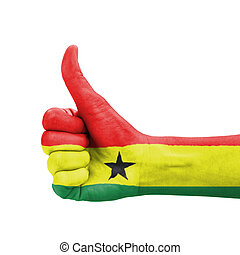 Hand with thumb up, Ghana flag painted as symbol of excellence
