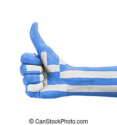 Hand with thumb up, Greece flag painted as symbol of excellence