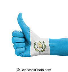 Hand with thumb up, Guatemala flag painted