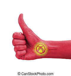 Hand with thumb up, Kyrgyzstan flag painted