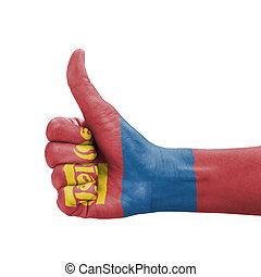 Hand with thumb up, Mongolia flag painted