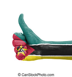 Hand with thumb up, Mozambique flag painted