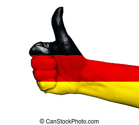 Hand with thumb up painted in colors fo Brazil flag isolated