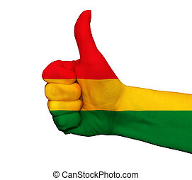 Hand with thumb up painted in colors of Bolivia flag isolated