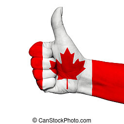Hand with thumb up painted in colors of Canada flag isolated