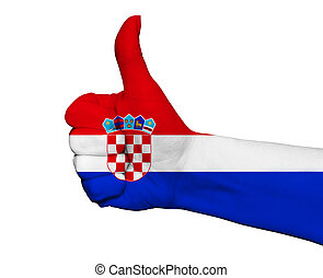 Hand with thumb up painted in colors of Croatia flag isolated