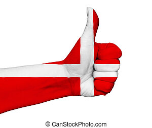 Hand with thumb up painted in colors of Denmark flag