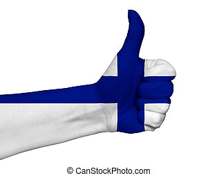 Hand with thumb up painted in colors of Finland flag isolated