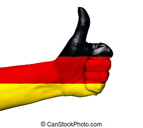 Hand with thumb up painted in colors of Germany flag isolated