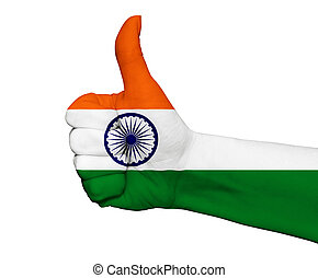 Hand with thumb up painted in colors of India flag isolated