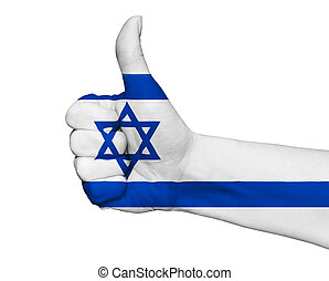 Hand with thumb up painted in colors of Israel flag isolated