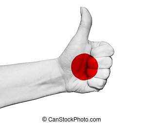 Hand with thumb up painted in colors of Japan flag isolated