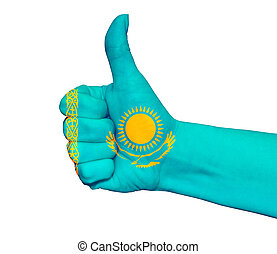 Hand with thumb up painted in colors of Kazakhstan flag isolated