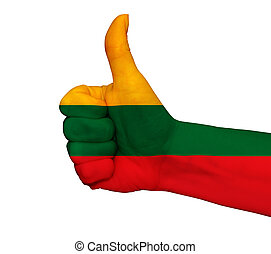 Hand with thumb up painted in colors of Lithuania flag isolated