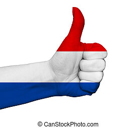 Hand with thumb up painted in colors of Netherlands flag isolate