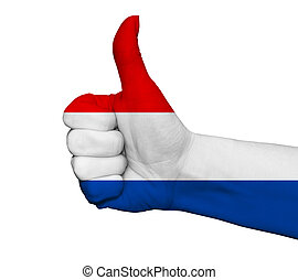 Hand with thumb up painted in colors of Netherlands flag isolated