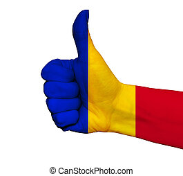 Hand with thumb up painted in colors of Romania flag isolated