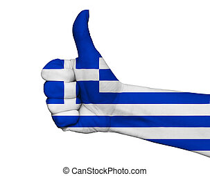 Hand with thumb up painted in colors of Greece flag isolated