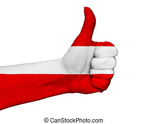 Hand with thumb up painted in colors of Estonia flag