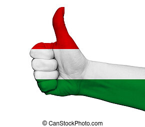 Hand with thumb up painted in colors of Hungary flag isolated