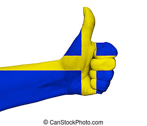 Hand with thumb up painted in colors of Sweden flag isolated