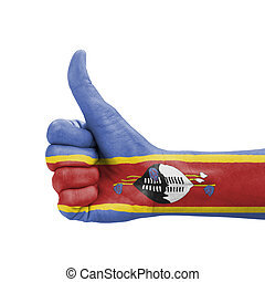 Hand with thumb up, Swaziland flag painted