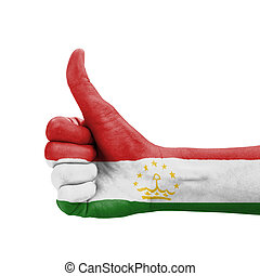 Hand with thumb up, Tajikistan flag painted