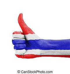 Hand with thumb up, Thailand flag painted