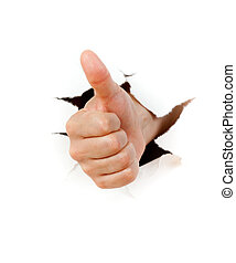 Hand with thumb up through a hole in paper