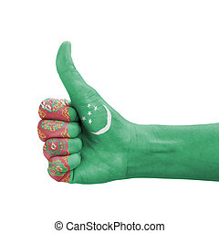Hand with thumb up, Turkmenistan flag painted