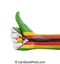 Hand with thumb up, Zimbabwe flag painted