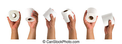 Hand with tissue paper on white background