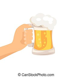 Hand with Traditional Glass of Beer with Foam - Hand with...
