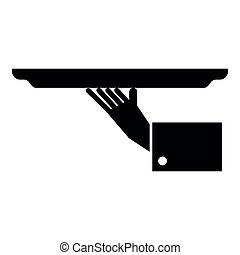 Hand with tray icon black color illustration flat style simple image