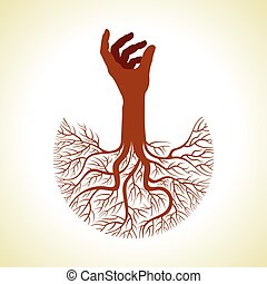 hand with tree roots vector - This vector background has a...