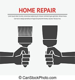 hand with trowel and brush. home repair concept. vector...