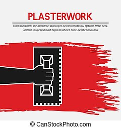 Hand with trowel. Plaster work design. Vector illustration