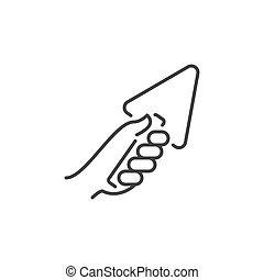 Hand with Trowel vector icon in thin line style