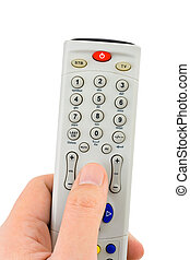 Hand with tv remote control