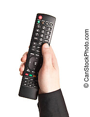 Hand with TV remote control isolated