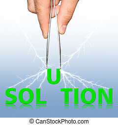 Hand with tweezers and word solution