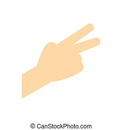 Hand with two fingers flat icon
