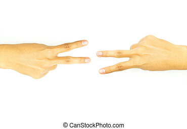 hand with two fingers of the opposi